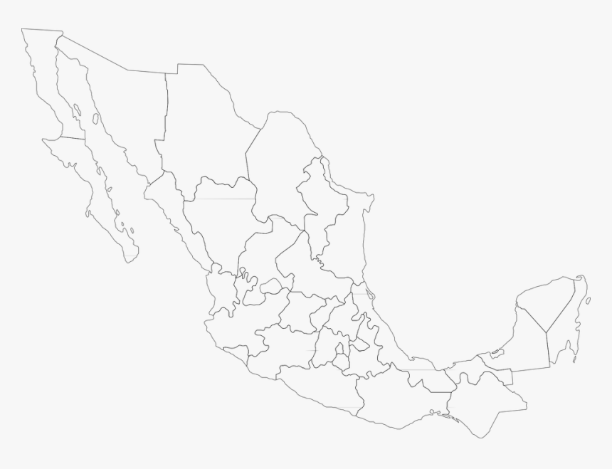 Map, Mexico, Political, Mexican, Country, Nation - States Of Mexico Blank Map, HD Png Download, Free Download