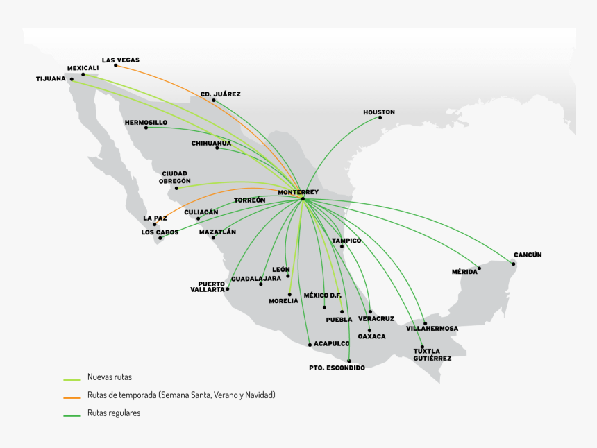Transparent Mapa De Mexico Png - Mapa De Vuelos En Mexico, Png Download, Free Download