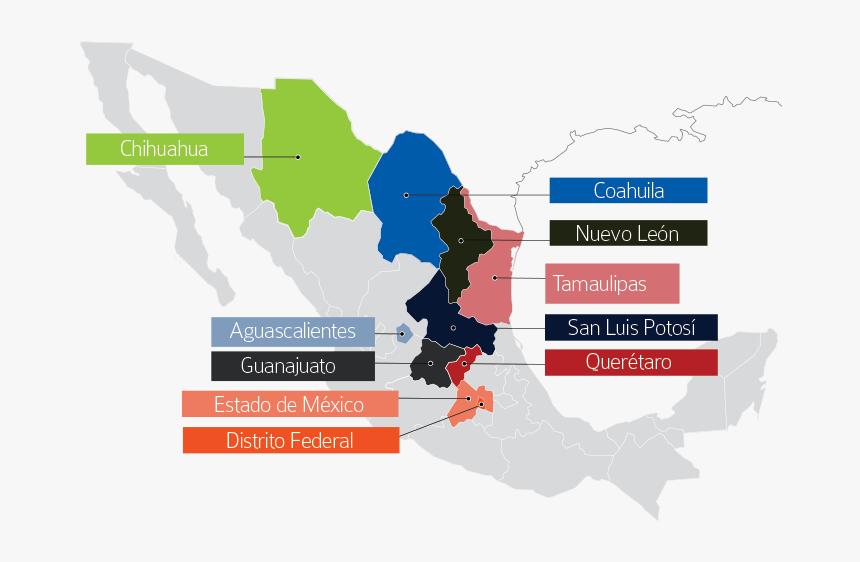 Transparent Mapa De Mexico Png - Zonas Industriales En Mexico, Png Download, Free Download
