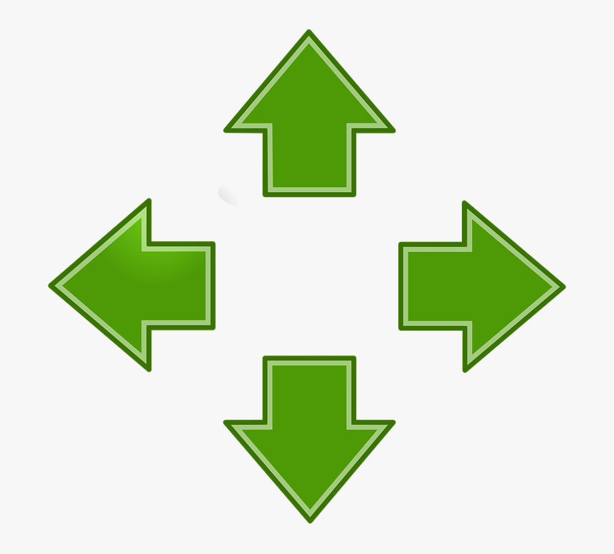Arrows, Green, Left, Right, Up, Down, Pointing, Icon - Up Down Left And Right Arrows, HD Png Download, Free Download