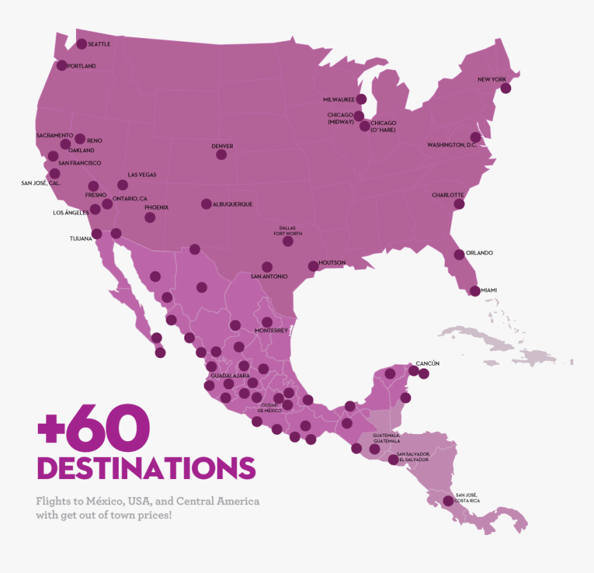 Volaris Route Map - Usa And Mexico Map Outline, HD Png Download, Free Download