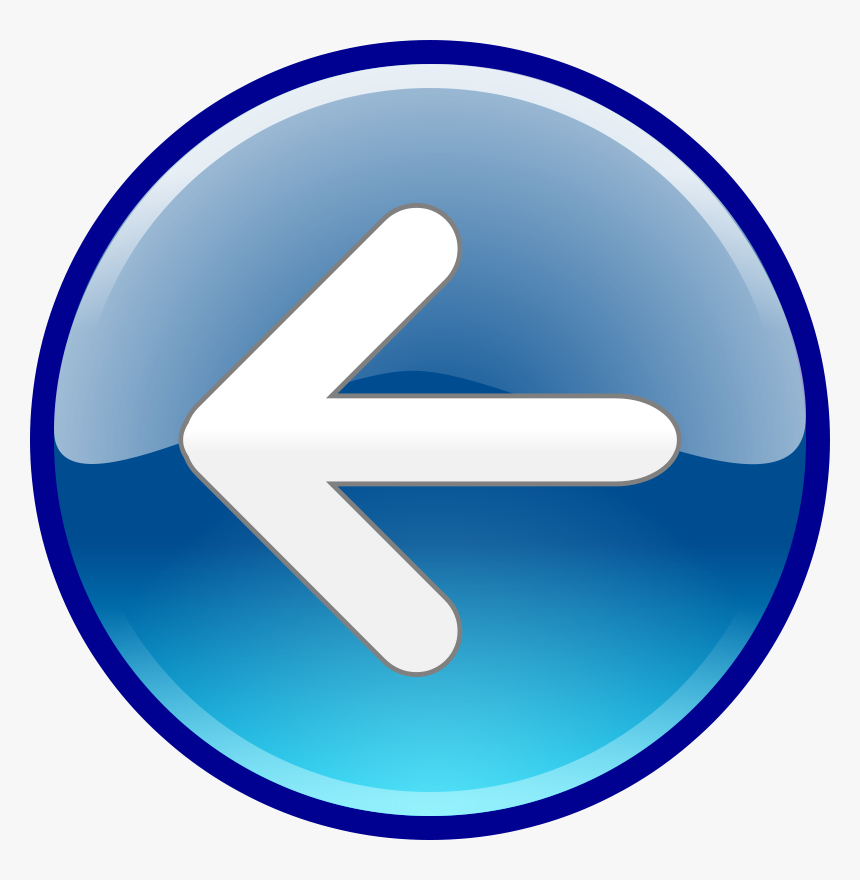Back, Return, Arrow, Left, Button, Glossy, Blue - Windows 7 Back Button, HD Png Download, Free Download