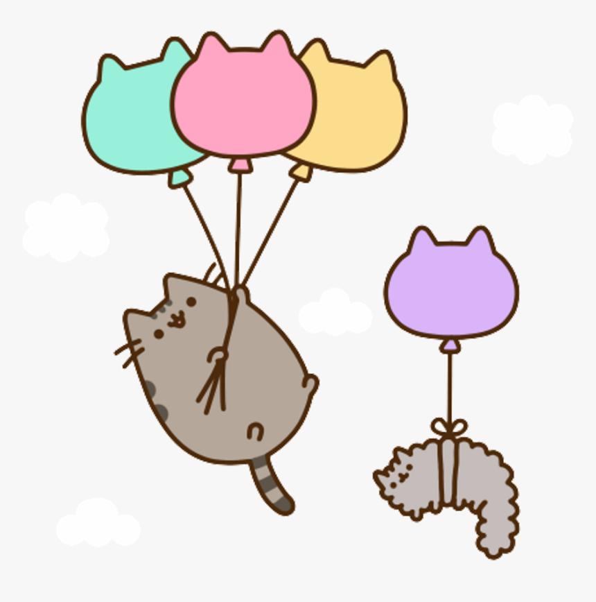 Pusheen Cat Aesthetic Kawaii Anime Art Sticker Manga - Pusheen Balloons Png, Transparent Png, Free Download