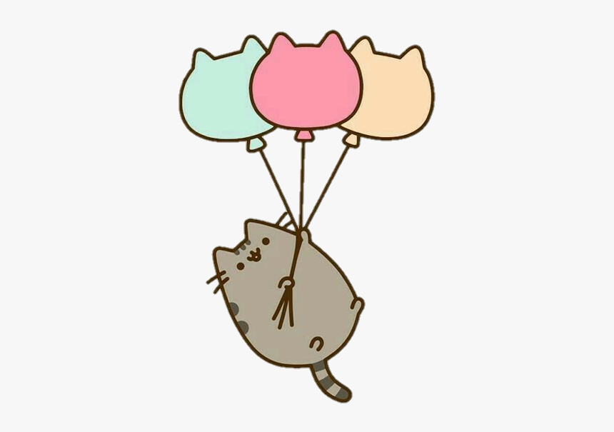 Clipart Balloon Cat - Pusheen Cat With Balloons, HD Png Download, Free Download