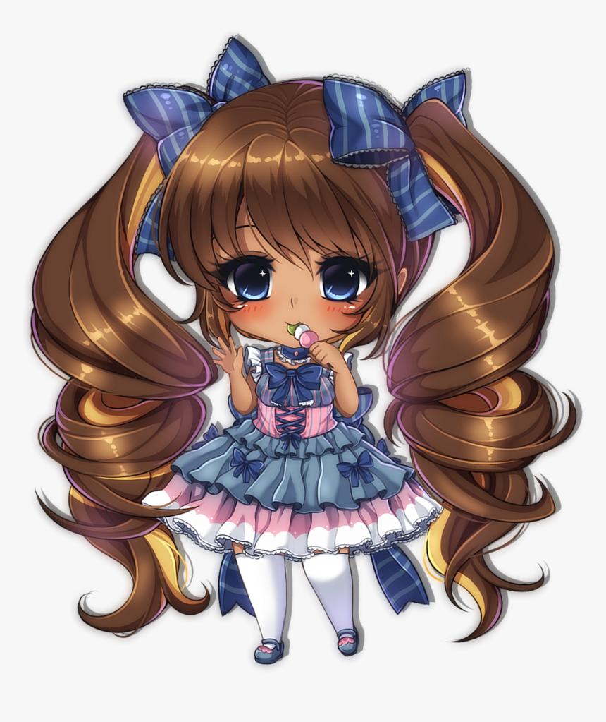 Manga Clipart Chibi - Anime Girl Brown Skin, HD Png Download, Free Download