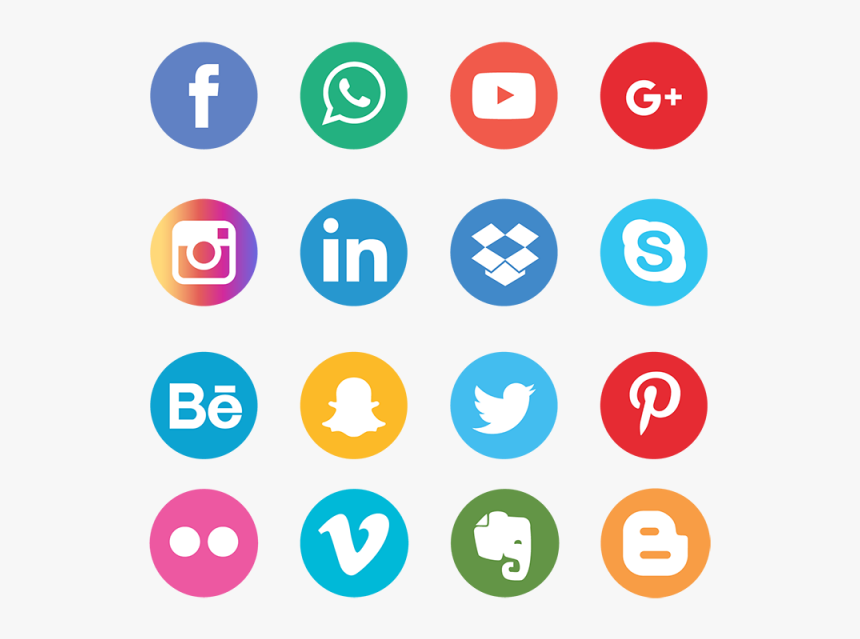 Social Media Icons Set Network Background Smiley Face - Vector Social Media Icons Png, Transparent Png, Free Download