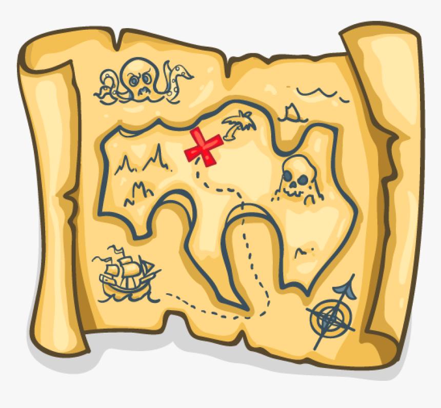 Treasure Map - Pirate Treasure Clipart, HD Png Download, Free Download
