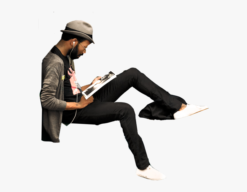 Guy Sitting And Reading - Person Sitting And Reading Png, Transparent Png, Free Download