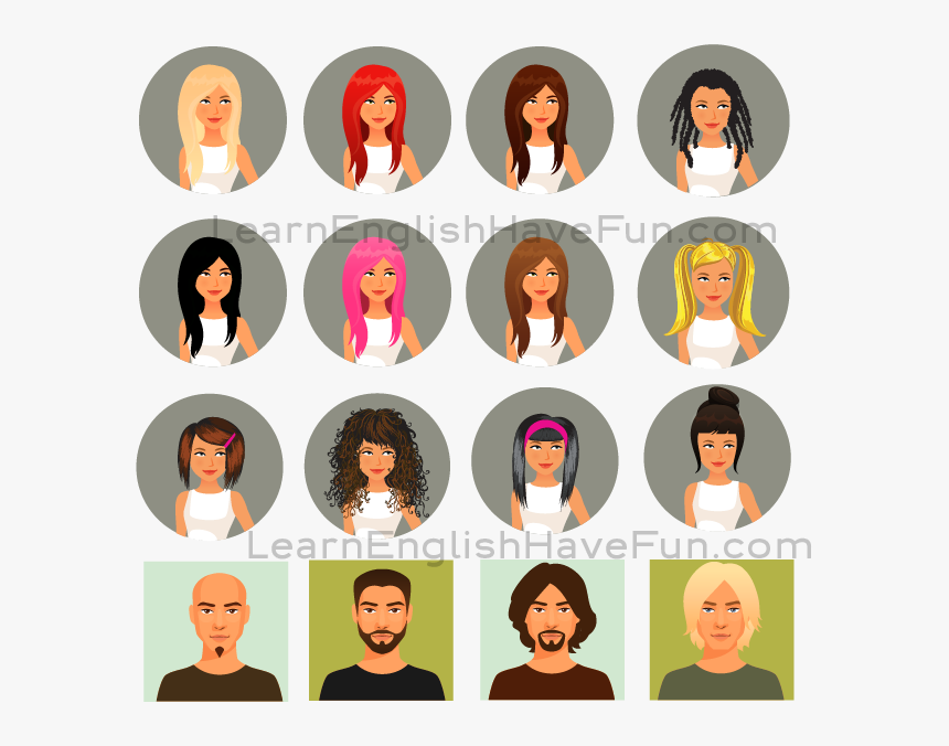 English Care Vocabulary - Hair Color Cartoon, HD Png Download, Free Download