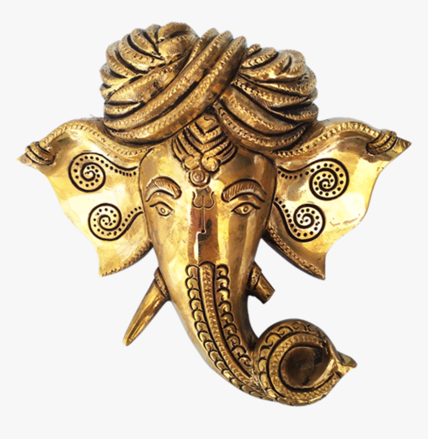 Decorative Lord Ganesha Face Wall Hanging Brass Statue, - Ganesha, HD Png Download, Free Download