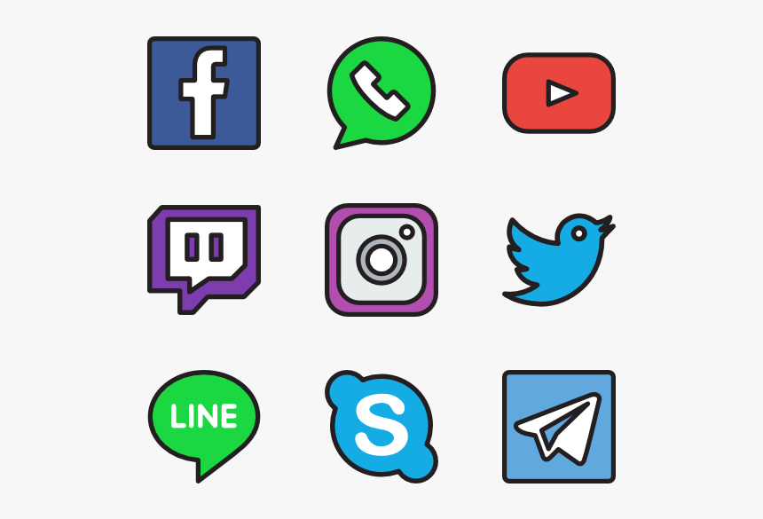 Essential Set - Social Media Icons Straight Line Png, Transparent Png, Free Download