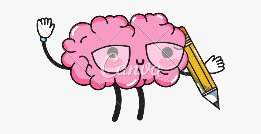 Kawaii Happy Brain With - Cartoon Cute Brain Drawing, HD Png Download, Free Download