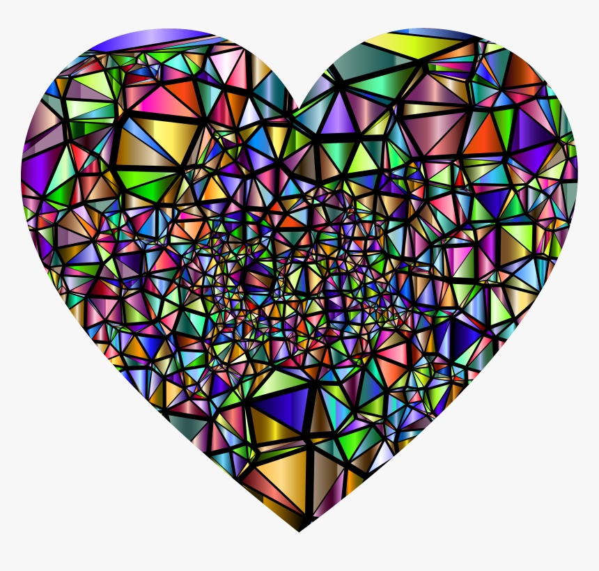 Low Poly Shattered Chromatic Heart With Background - Broken Heart Stained Glass, HD Png Download, Free Download