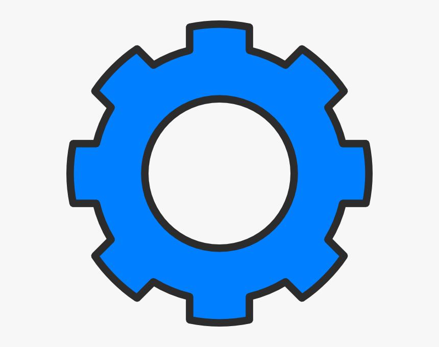 Medium Blue Gear Clip - Blue Gear Clipart, HD Png Download, Free Download