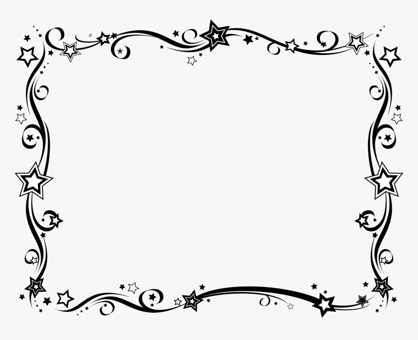 Swirls Png Frames Pinterest - Star Border Design Black And White, Transparent Png, Free Download