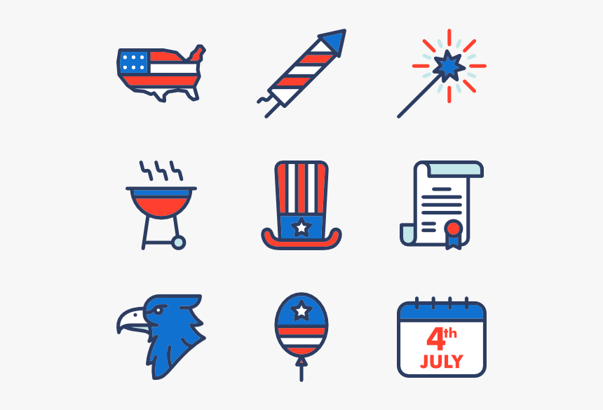 Essential Set - 4th Of July Icon Png, Transparent Png, Free Download