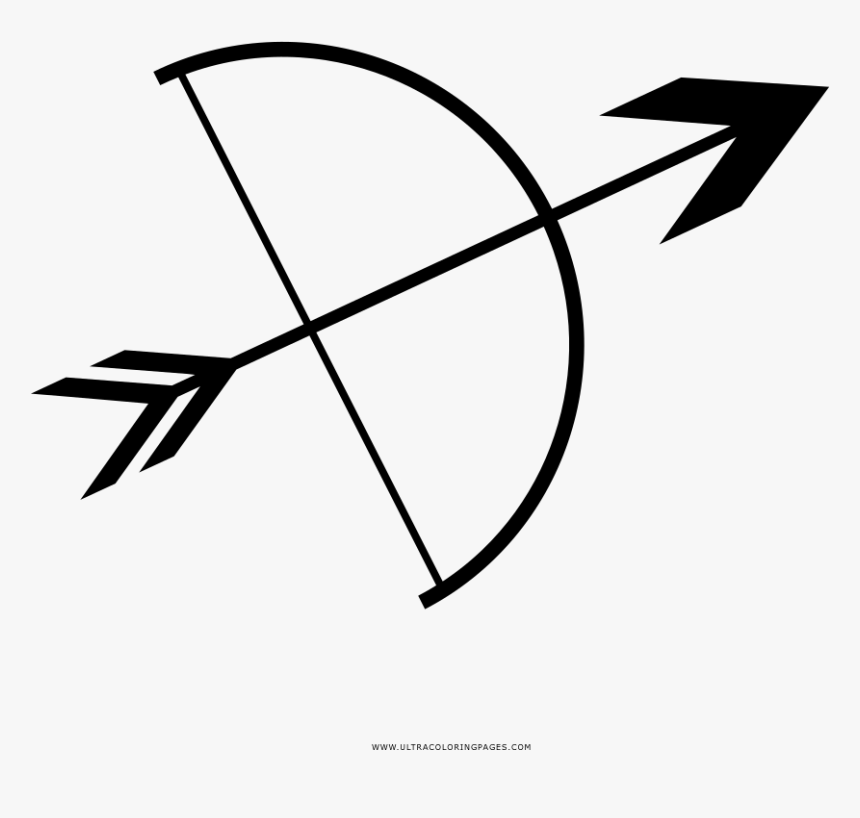 Bow And Arrow Coloring Page - Coloring Pages Of A Bow And Arrow, HD Png Download, Free Download