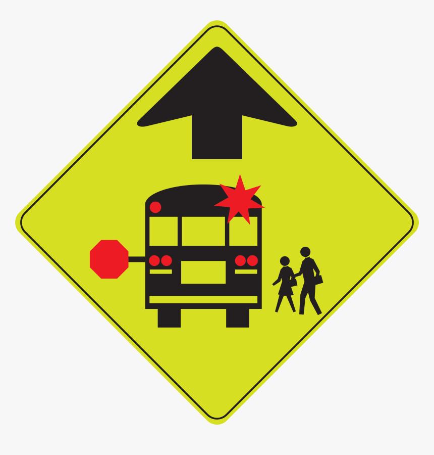School Bus Stop Ahead Clip Arts - School Bus Road Sign, HD Png Download, Free Download