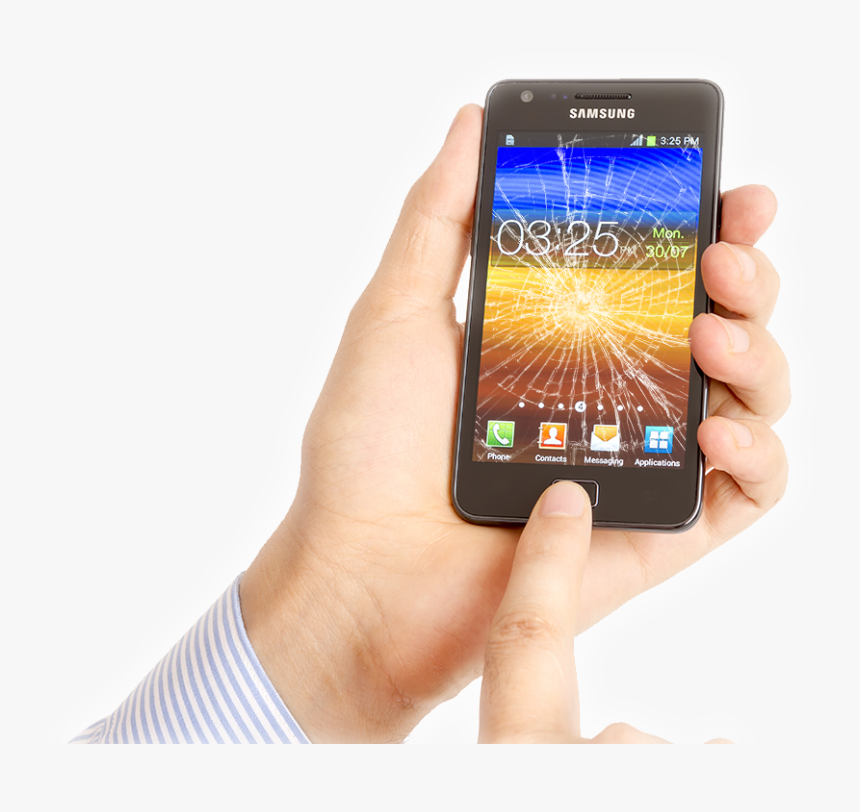 Broken Smartphone In Hand - Cell Phone With Hand Png, Transparent Png, Free Download