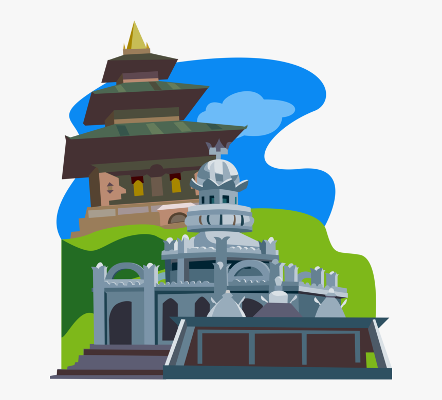 Vector Illustration Of Sagar Shiv Mandir Hindu Temple, - Mauritius Temple Vector, HD Png Download, Free Download
