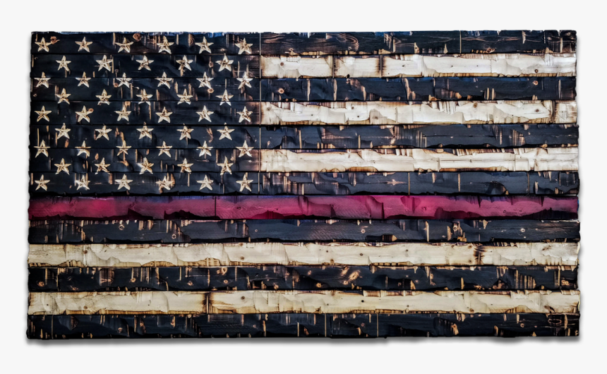 """Wood Thin Red Line Flag """"  Class=""""lazyload Lazyload - Charred Wood American Flag, HD Png Download, Free Download"""