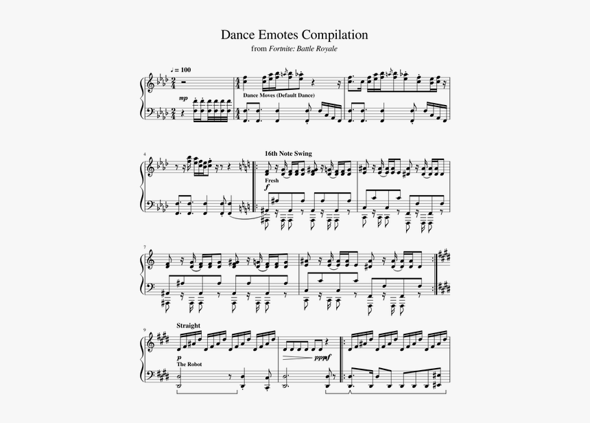 Fortnite Smooth Moves Sheet Music, HD Png Download, Free Download