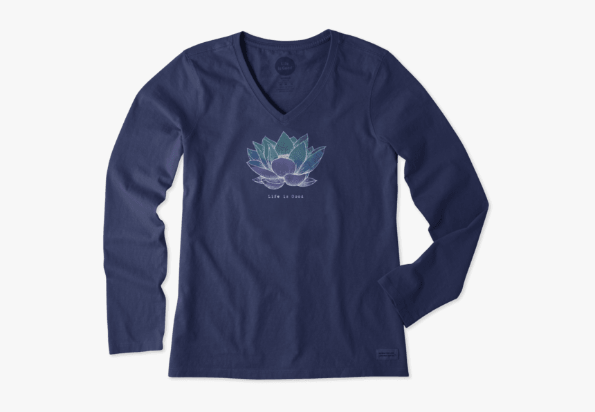 "Women""s Lotus Flower Long Sleeve Crusher Vee - Life Is Short Hard Strange And Good Shirt, HD Png Download, Free Download"