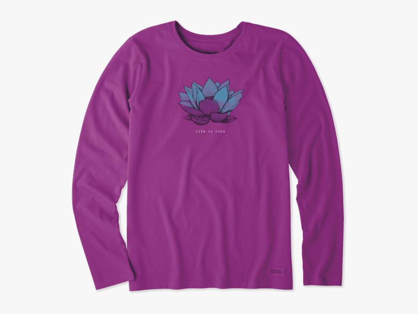 "Women""s Lotus Flower Engraved Long Sleeve Crusher Tee - Long-sleeved T-shirt, HD Png Download, Free Download"
