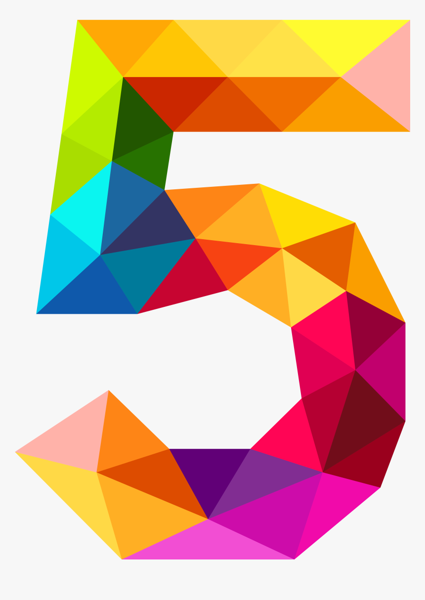 Colourful Triangles Number Five Png Clipart Image - Colourful Triangles Number Five Png, Transparent Png, Free Download