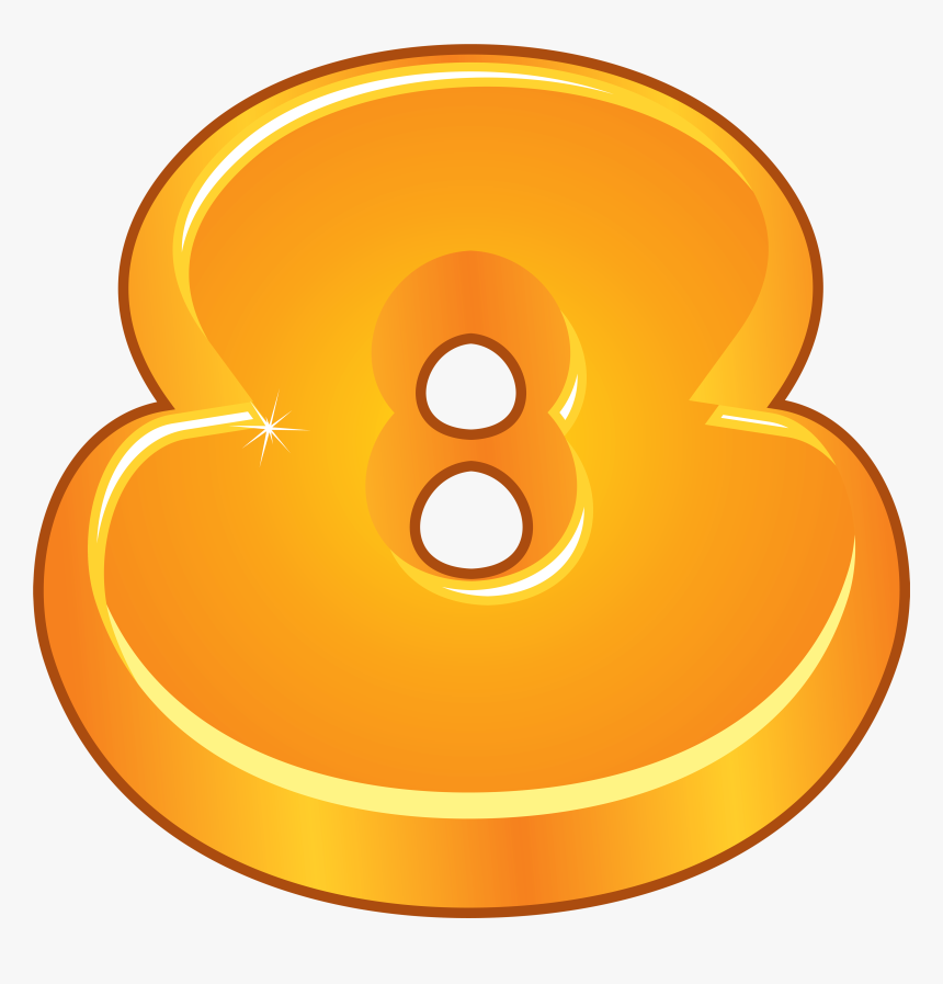 Orange Cartoon Number Eight Png Clipart Image Numbers - Cartoon Number Png, Transparent Png, Free Download