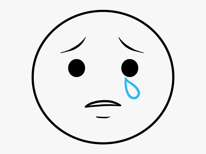 How To Draw Crying Emoji - Sad Face Emoji Drawing, HD Png Download, Free Download