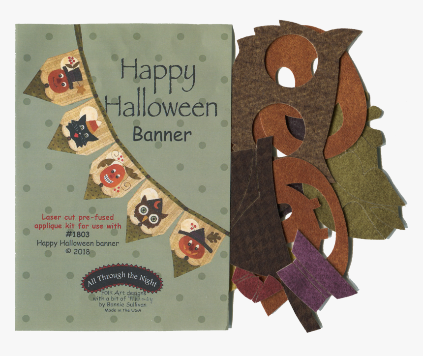 Happy Halloween Banner Applique Kit - Halloween Banner Applique All Through The Night, HD Png Download, Free Download