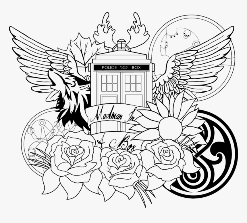 Tardis Coloring Page - Doctor Who Coloring Pages For Adults, HD Png Download, Free Download