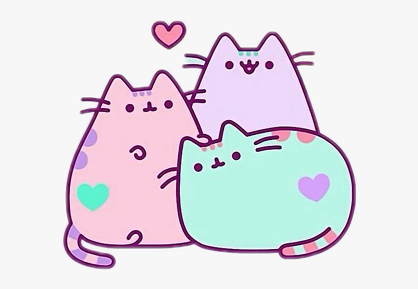 Blue Lila Pusheen Cat Kawaii Cute Wallpapers For Laptop Hd Png Download Kindpng
