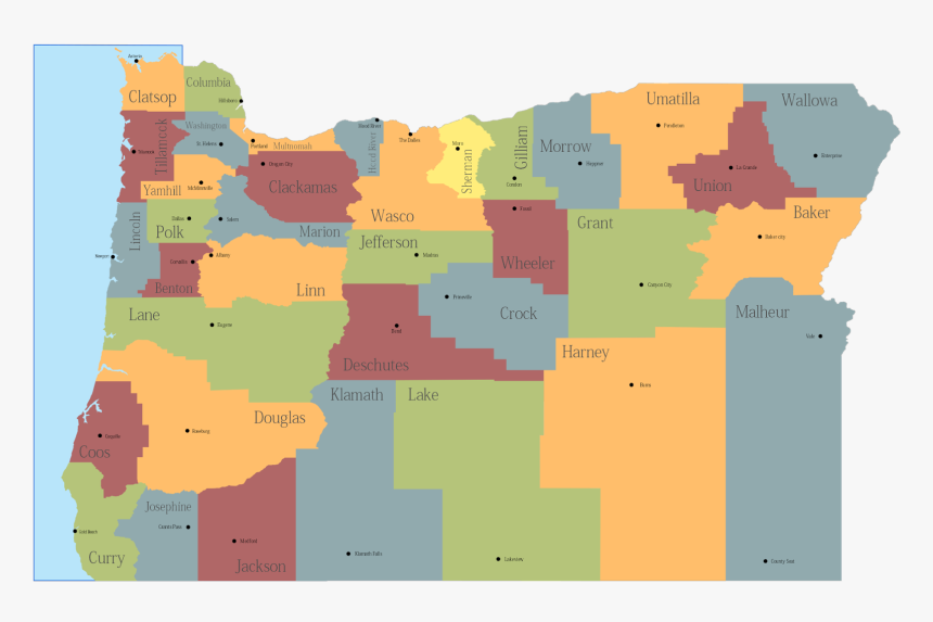 Map Of Oregon State Map Of Usa United States Maps - Oregon Cities Pics Map, HD Png Download, Free Download