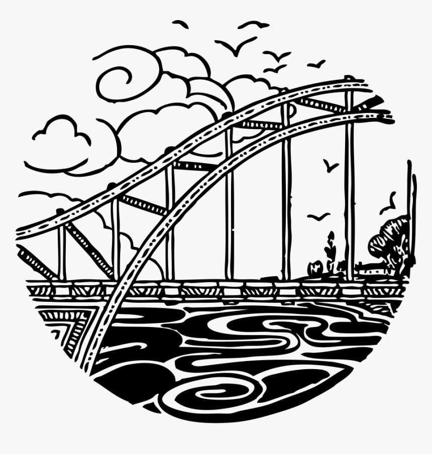 Bridge Over River 2 Svg Clip Arts - Drawing White Clipart River Clip Art, HD Png Download, Free Download