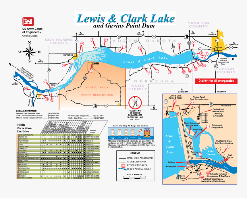 File - Lewisclarklakemap - Map Of Missouri River Dams, HD Png Download, Free Download