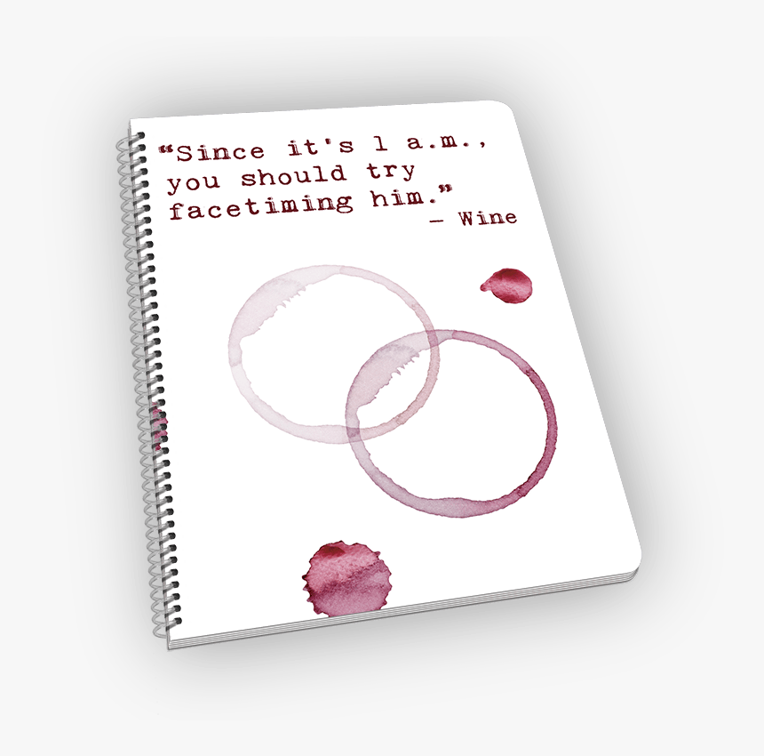 Spiral-bound Notebook With Wine Stains And Quote - Paper, HD Png Download, Free Download
