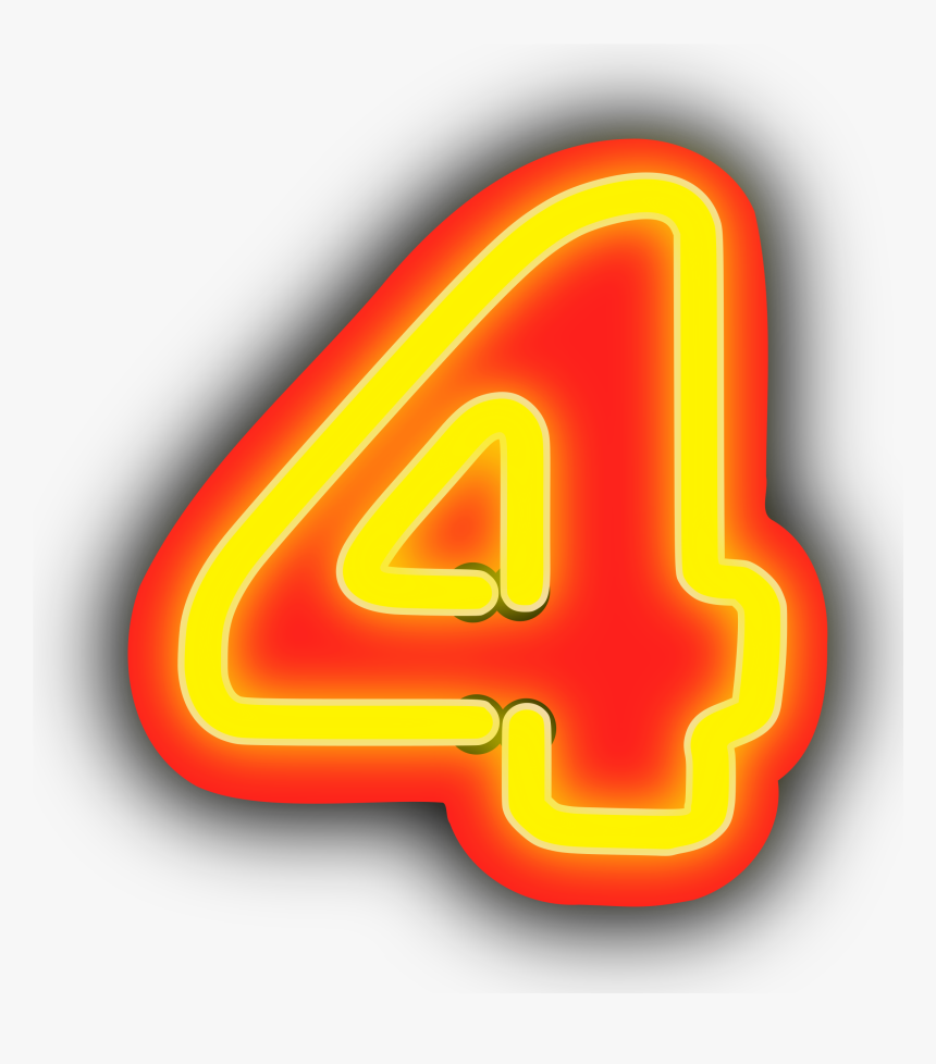 Neon Numerals-4 Clip Arts - Number 4 Png Neon, Transparent Png, Free Download