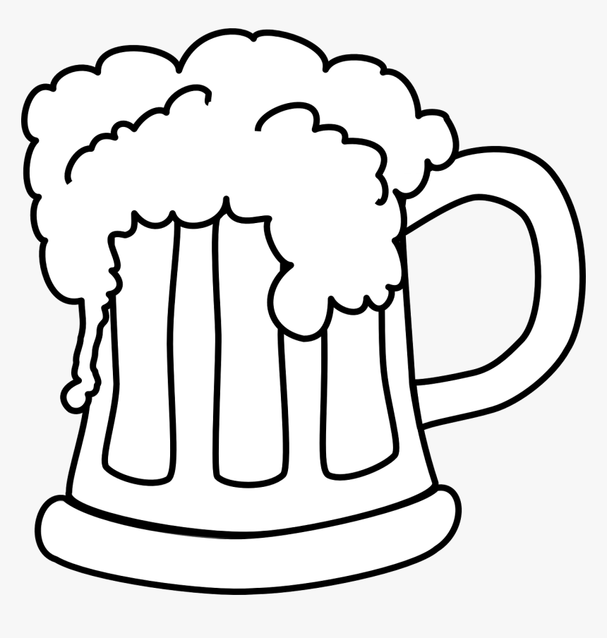 Beer Mug White Png - Beer Clipart Black And White, Transparent Png, Free Download