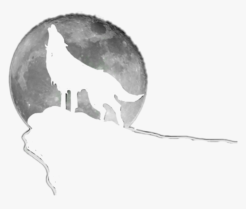 Freetoedit Wolf Moon Silhouette Howling - Wolf Howl Vector, HD Png Download, Free Download