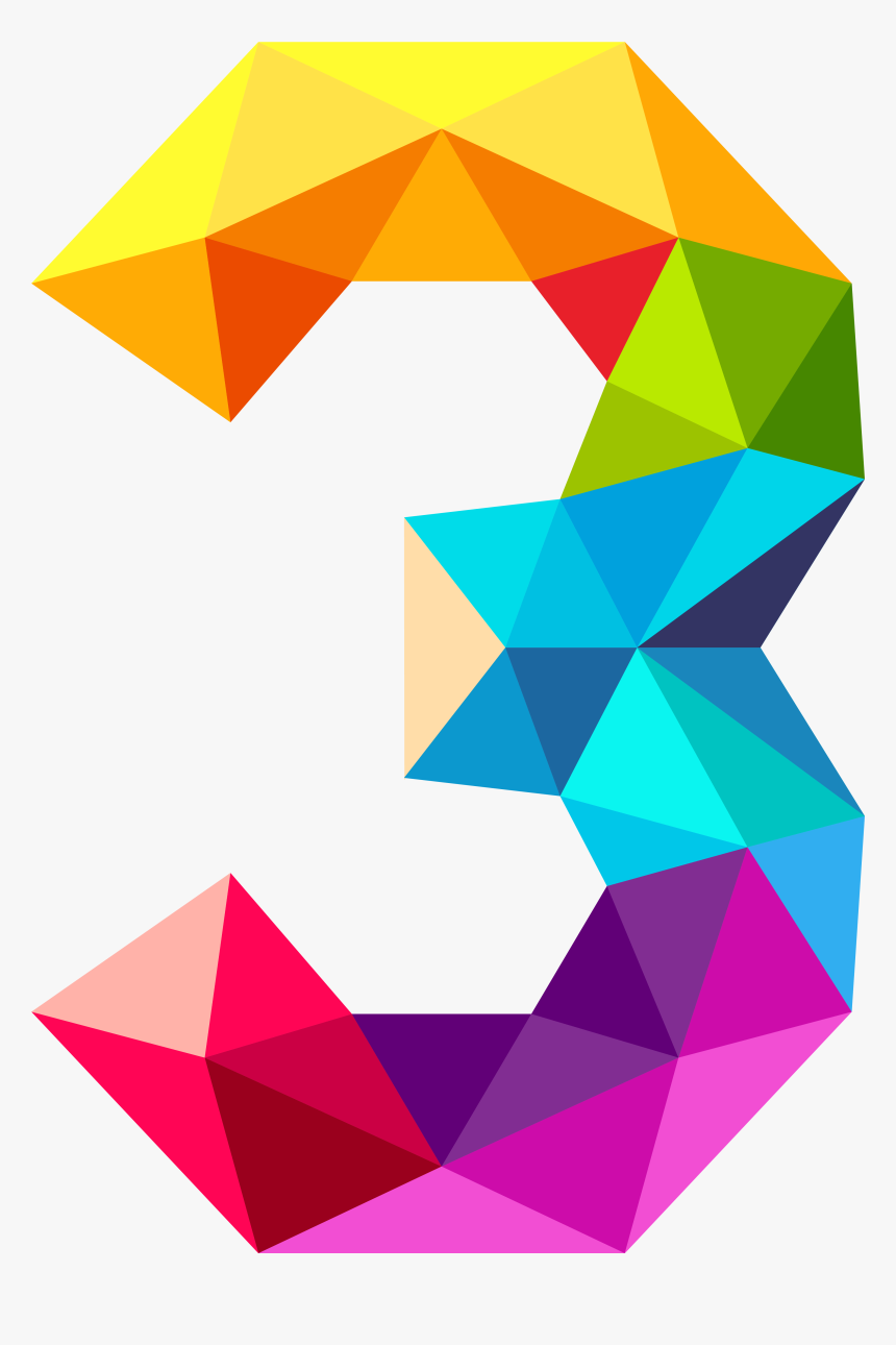 Colourful Triangles Number Three Png Clipart Imageu200b - Colourful Triangles Number Three, Transparent Png, Free Download