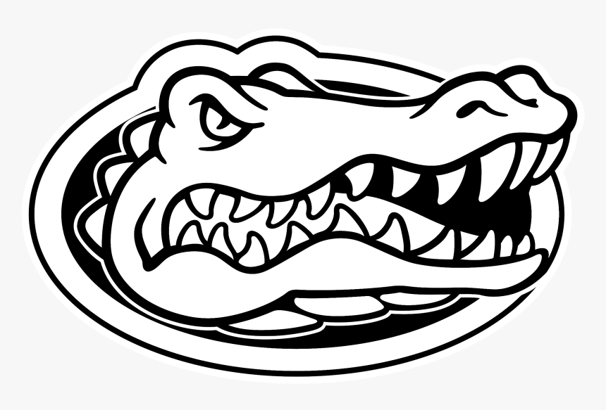 Florida Gators Football Alligator Coloring Book Florida - Florida Gators Logo Black And White, HD Png Download, Free Download