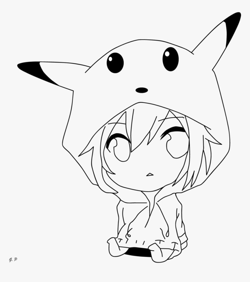 Pikachu Girl Drawing Chibi Girl Outlines, Human Drawing, - Anime Pikachu Girl Drawing, HD Png Download, Free Download