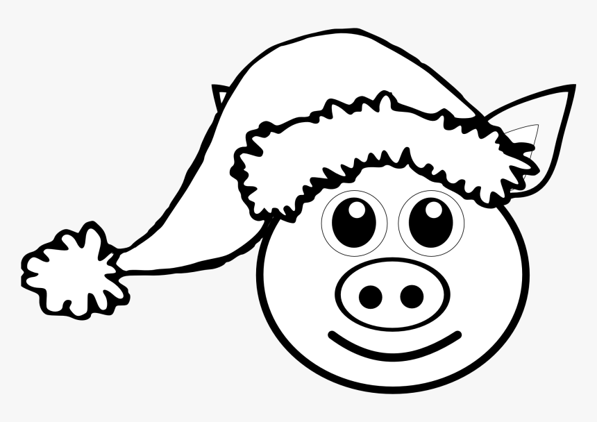 Pig 1 Face Pink With Santa Hat Black White Line Art - Christmas Pig Color Page, HD Png Download, Free Download