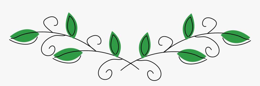 #leaves #vines #divider #header #textline #line #lines - Decorative Green Leaf Divider, HD Png Download, Free Download
