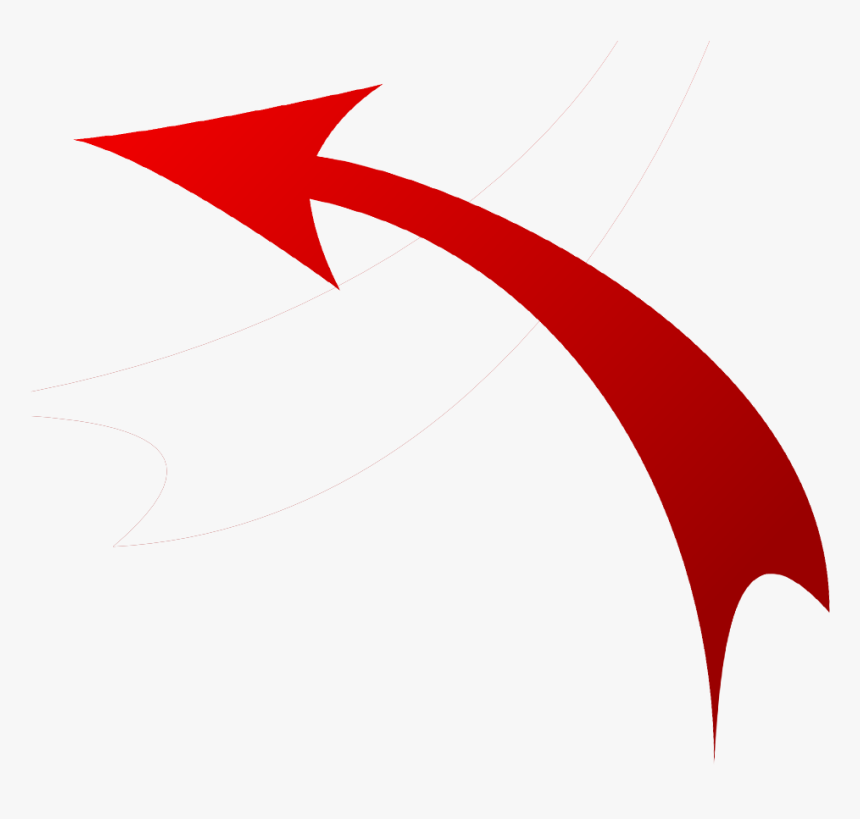 Red Arrow Clipart Sky Line Transparent Clip Art Png - Red Curved Arrow On Transparent Background, Png Download, Free Download