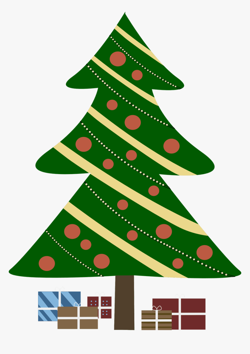 Christmas Gifts Clipart Png - Christmas Tree Cartoon With Presents, Transparent Png, Free Download