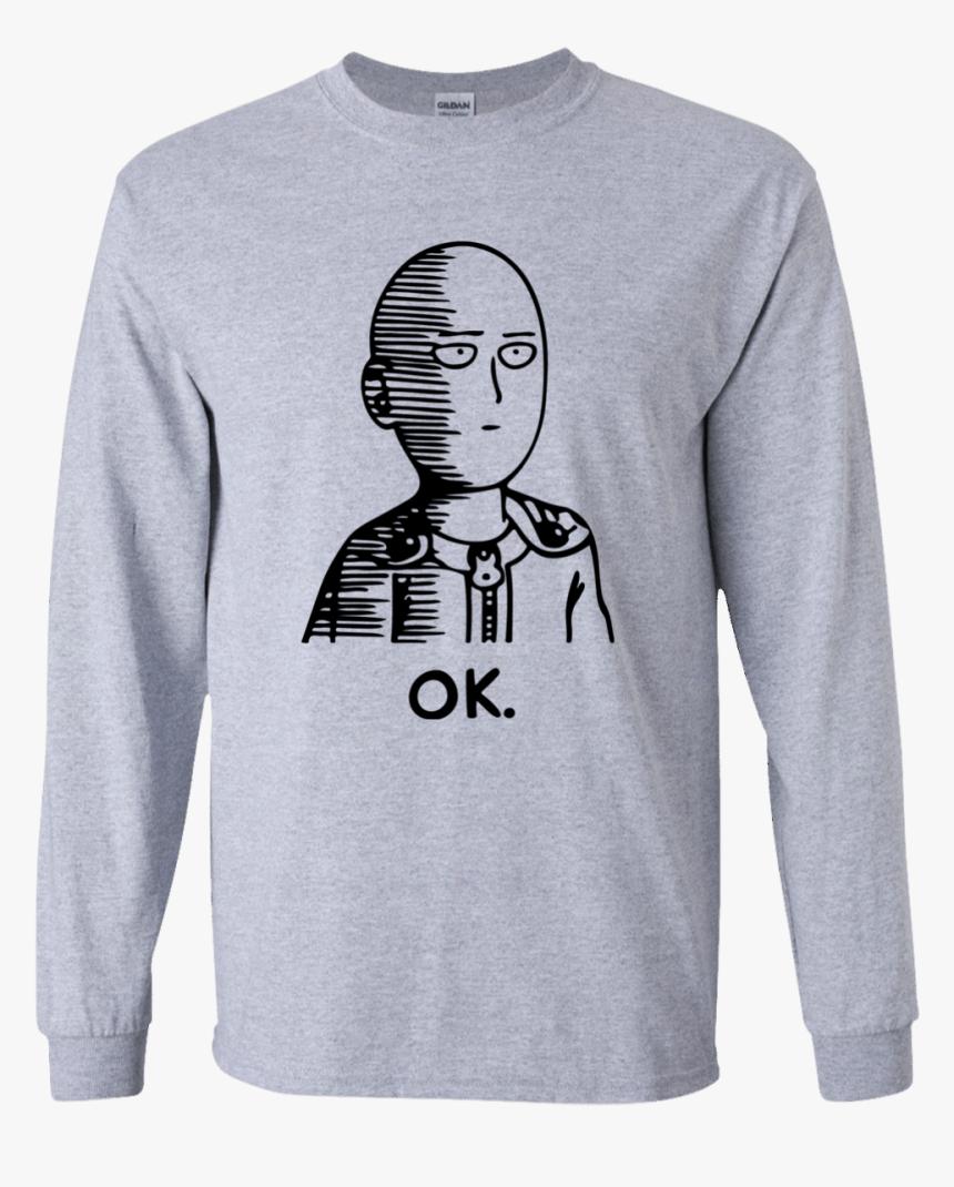 One Punch Man Saitama Ok Long Sleeve T Shirt - T-shirt, HD Png Download, Free Download