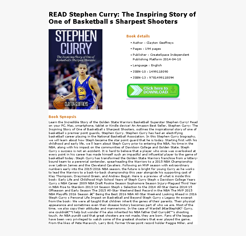 Stephen Curry The Inspiring Story Of One, HD Png Download, Free Download
